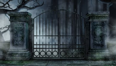 brama cmentarza halloween