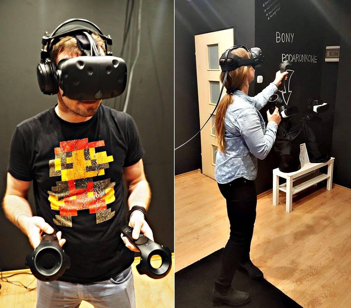 chłopak idziewczyna wsalonie wirtualnej rzeczywistości