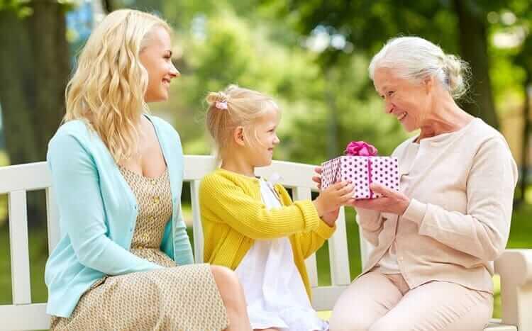 dziewczynka wręcza babci prezent urodzinowy