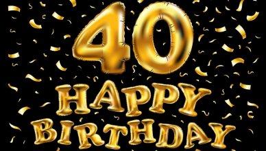 złote balony na 40 urodziny