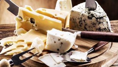 różne gatunki sera ułożone na drewnianej desce