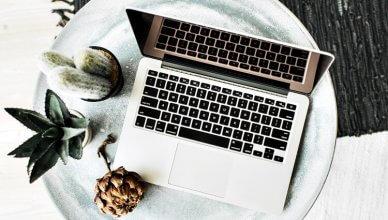 laptop i sukulenty na okrągłym stoliku widok z góry