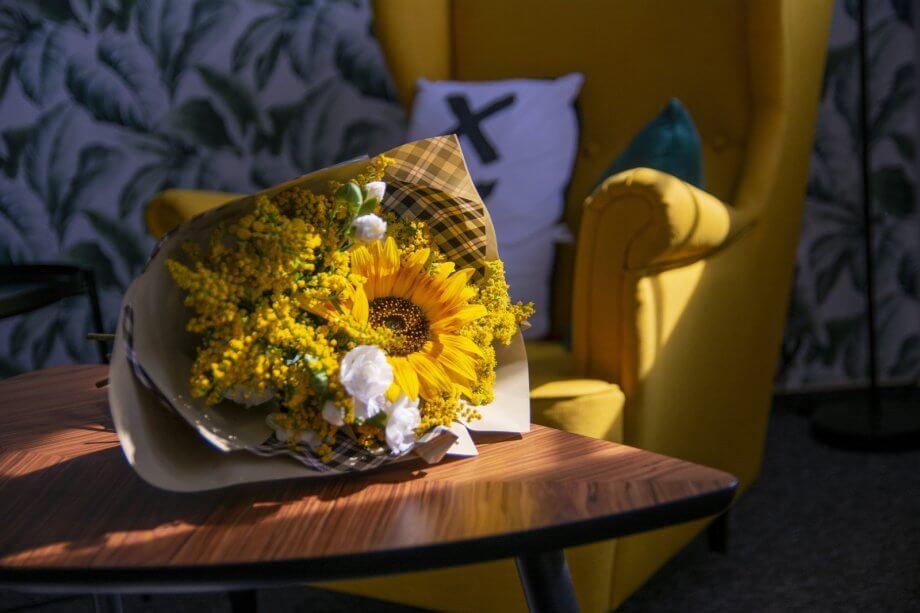 bukiet standard zsezonowych letnich kwiatów isłoneczników