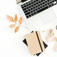 laptop, notes i suchy jesienny liść na białym tle widok z góry