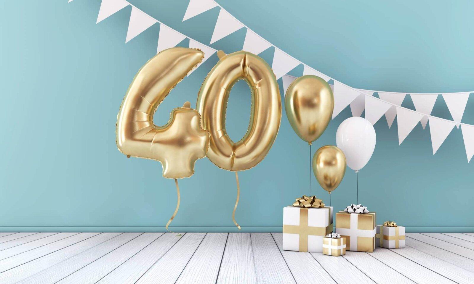balony, prezenty na 40 urodziny