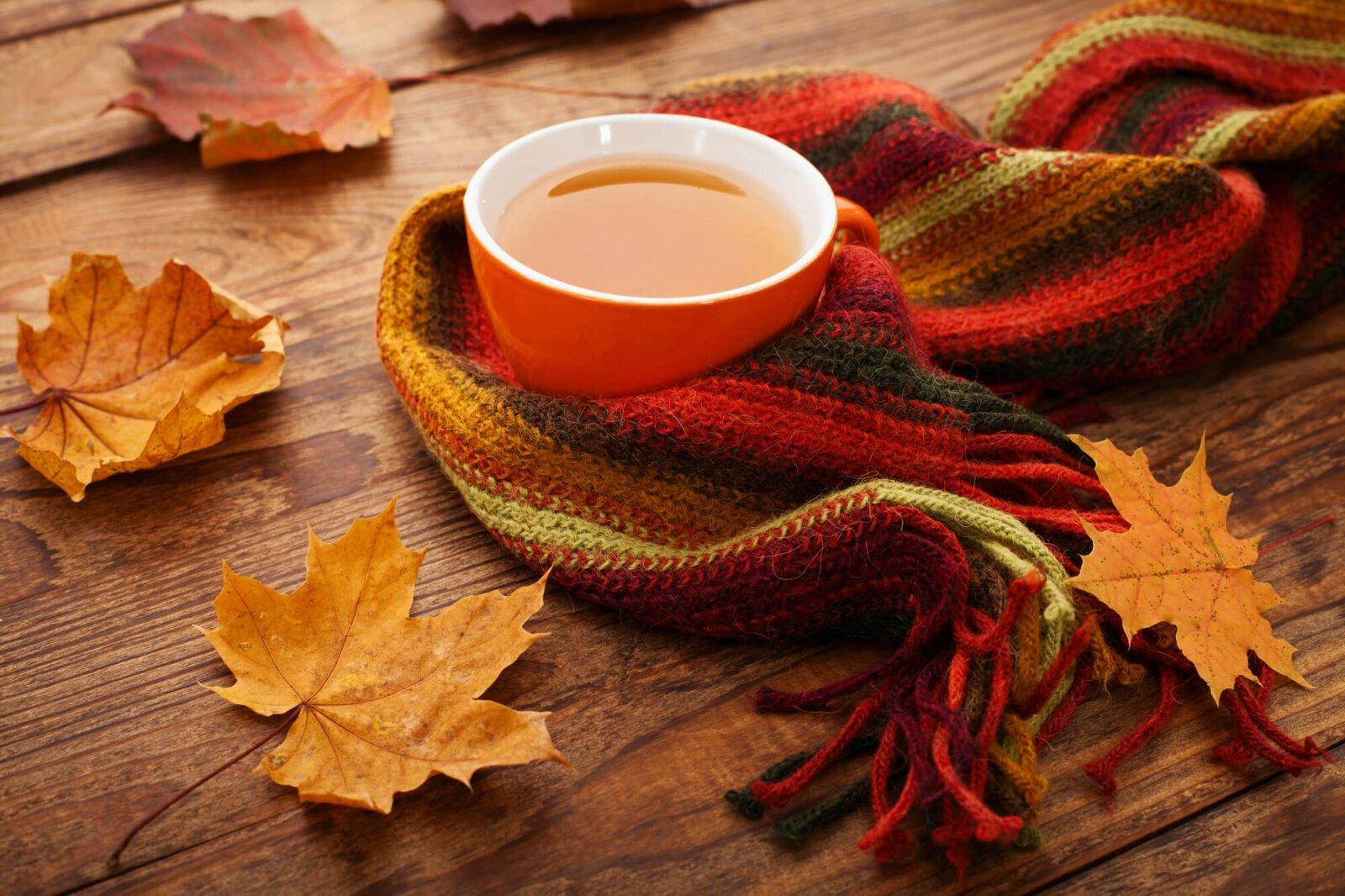 Kubek z herbatą owinięty szalikiem i liśćmi wokół